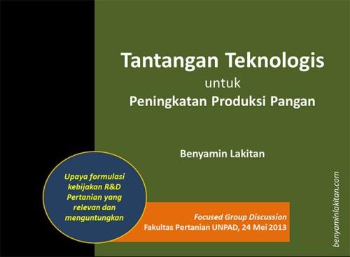 Tantangan Teknologis untuk Peningkatan Produksi Pangan